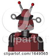 Red Mech With Cone Head And Speakers Mouth And Black Visor Cyclops And Double Led Antenna
