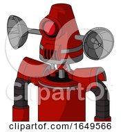 Red Mech With Cone Head And Speakers Mouth And Cyclops Eye