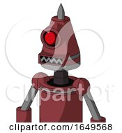 Red Mech With Cone Head And Square Mouth And Cyclops Eye And Spike Tip