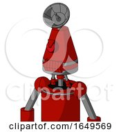 Red Mech With Cone Head And Toothy Mouth And Angry Cyclops And Radar Dish Hat