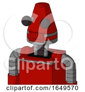 Red Mech With Cone Head And Toothy Mouth And Two Eyes