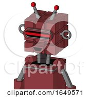 Red Mech With Cube Head And Happy Mouth And Visor Eye And Double Led Antenna