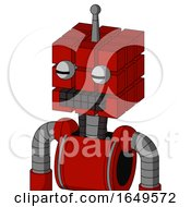 Red Mech With Cube Head And Keyboard Mouth And Two Eyes And Single Antenna
