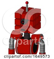 Red Mech With Cube Head And Sad Mouth And Black Cyclops Eye And Single Led Antenna