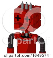 Red Mech With Cube Head And Sad Mouth And Plus Sign Eyes And Three Spiked