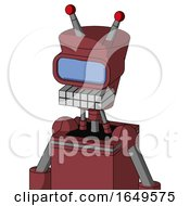 Red Mech With Cylinder Conic Head And Keyboard Mouth And Large Blue Visor Eye And Double Led Antenna