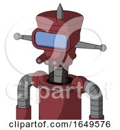 Red Mech With Cylinder Conic Head And Pipes Mouth And Large Blue Visor Eye And Spike Tip