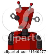 Red Mech With Cylinder Conic Head And Sad Mouth And Two Eyes And Double Led Antenna
