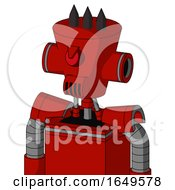 Red Mech With Cylinder Conic Head And Speakers Mouth And Angry Cyclops And Three Dark Spikes