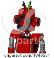 Red Mech With Cylinder Head And Keyboard Mouth And Three Eyed And Wire Hair