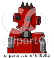 Red Mech With Cylinder Head And Pipes Mouth And Red Eyed And Three Dark Spikes