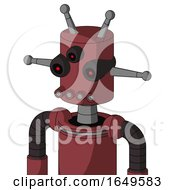 Red Mech With Cylinder Head And Pipes Mouth And Three Eyed And Double Antenna