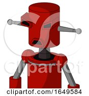 Red Mech With Cylinder Head And Sad Mouth And Angry Eyes