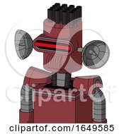 Red Mech With Cylinder Head And Speakers Mouth And Visor Eye And Pipe Hair