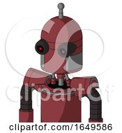 Red Mech With Dome Head And Black Glowing Red Eyes And Single Antenna