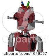 Red Mech With Dome Head And Round Mouth And Angry Eyes And Wire Hair