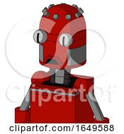 Red Mech With Dome Head And Sad Mouth And Two Eyes