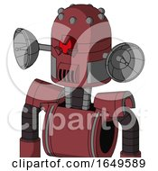 Red Mech With Dome Head And Speakers Mouth And Angry Cyclops Eye