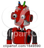 Red Mech With Dome Head And Speakers Mouth And Two Eyes And Wire Hair