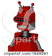 Red Mech With Dome Head And Square Mouth And Visor Eye And Double Led Antenna