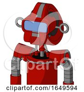 Red Mech With Droid Head And Speakers Mouth And Large Blue Visor Eye