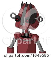 Red Mech With Droid Head And Toothy Mouth And Black Glowing Red Eyes And Three Dark Spikes