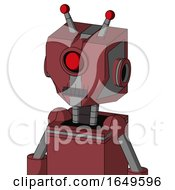 Red Mech With Mechanical Head And Dark Tooth Mouth And Cyclops Eye And Double Led Antenna