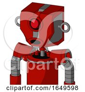 Red Mech With Mechanical Head And Round Mouth And Cyclops Eye