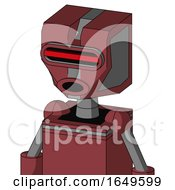 Red Mech With Mechanical Head And Round Mouth And Visor Eye