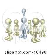 One Silver Person In A Group Of Gold People Thinking Up A Creative Idea With A Lightbulb Over His Head Clipart Illustration Graphic by 3poD