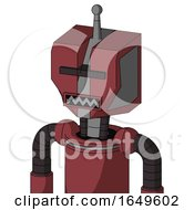 Red Mech With Mechanical Head And Square Mouth And Black Visor Cyclops And Single Antenna