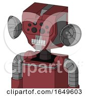 Red Mech With Mechanical Head And Teeth Mouth And Bug Eyes