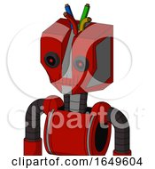 Red Mech With Mechanical Head And Toothy Mouth And Black Glowing Red Eyes And Wire Hair