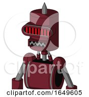 Red Droid With Cylinder Head And Square Mouth And Visor Eye And Spike Tip