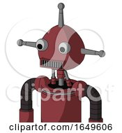 Red Mech With Rounded Head And Square Mouth And Two Eyes And Single Antenna