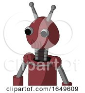 Red Mech With Rounded Head And Speakers Mouth And Two Eyes And Double Antenna