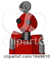 Red Mech With Rounded Head And Speakers Mouth And Two Eyes And Radar Dish Hat