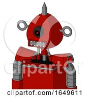 Red Mech With Rounded Head And Square Mouth And Black Cyclops Eye And Spike Tip
