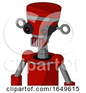 Red Mech With Vase Head And Vent Mouth And Black Glowing Red Eyes