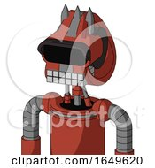 Red Automaton With Droid Head And Keyboard Mouth And Black Visor Eye And Three Spiked