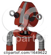 Red Automaton With Droid Head And Sad Mouth And Red Eyed