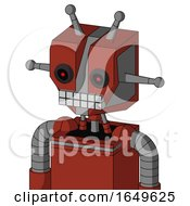 Red Automaton With Mechanical Head And Keyboard Mouth And Black Glowing Red Eyes And Double Antenna