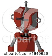 Red Automaton With Mechanical Head And Pipes Mouth And Black Visor Cyclops And Single Antenna