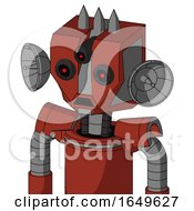 Red Automaton With Mechanical Head And Sad Mouth And Three Eyed And Three Spiked
