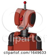 Red Automaton With Multi Toroid Head And Round Mouth And Angry Cyclops And Single Led Antenna
