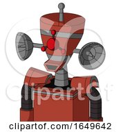 Red Automaton With Vase Head And Happy Mouth And Cyclops Compound Eyes And Single Antenna