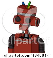 Red Automaton With Vase Head And Toothy Mouth And Two Eyes And Wire Hair