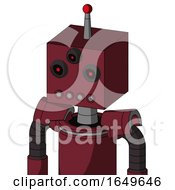 Red Droid With Box Head And Pipes Mouth And Three Eyed And Single Led Antenna