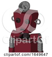 Red Droid With Box Head And Sad Mouth And Red Eyed And Radar Dish Hat