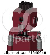 Red Droid With Box Head And Vent Mouth And Black Cyclops Eye And Pipe Hair